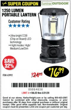Harbor Freight Coupon 1250 LUMENS PORTABLE LANTERN Lot No. 63992 Valid Thru: 5/31/20 - $16.99