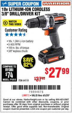 "Harbor Freight Coupon 18 VOLT LITHIUM CORDLESS 3/8"" DRILL/DRIVER Lot No. 64118 EXPIRES: 6/30/20 - $27.99"