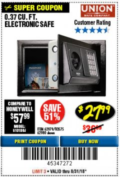 Harbor Freight Coupon 0.37 CU.FT. ELECTRONIC SAFE Lot No. 62979/93575/62980 Expired: 8/31/18 - $27.99