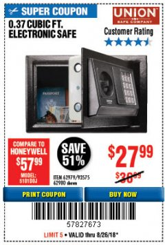 Harbor Freight Coupon 0.37 CU.FT. ELECTRONIC SAFE Lot No. 62979/93575/62980 Expired: 8/26/18 - $27.99