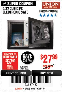 Harbor Freight Coupon 0.37 CU.FT. ELECTRONIC SAFE Lot No. 62979/93575/62980 Expired: 10/28/18 - $27.99
