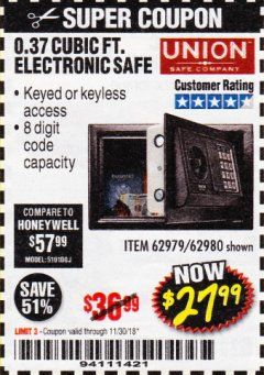 Harbor Freight Coupon 0.37 CU.FT. ELECTRONIC SAFE Lot No. 62979/93575/62980 Expired: 11/30/18 - $27.99