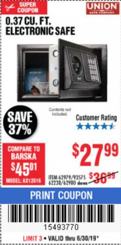 Harbor Freight Coupon 0.37 CU.FT. ELECTRONIC SAFE Lot No. 62979/93575/62980 Expired: 6/30/19 - $27.99