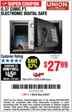 Harbor Freight Coupon 0.37 CU.FT. ELECTRONIC SAFE Lot No. 62979/93575/62980 Expired: 6/30/20 - $27.99
