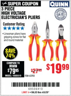Harbor Freight Coupon 3 PIECE HIGH VOLTAGE ELECTRICIAN'S PLIERS Lot No. 63783 EXPIRES: 6/30/20 - $19.99
