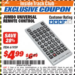Harbor Freight ITC Coupon JUMBO UNIVERSAL REMOTE CONTROL Lot No. 61959 Expired: 8/31/18 - $4.99
