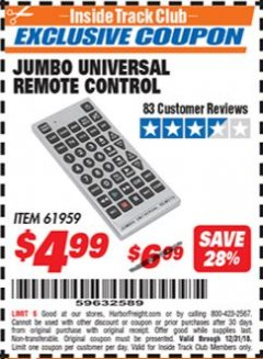 Harbor Freight ITC Coupon JUMBO UNIVERSAL REMOTE CONTROL Lot No. 61959 Expired: 12/31/18 - $4.99