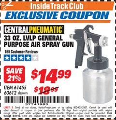Harbor Freight ITC Coupon 33 OZ. LVLP GENERAL PURPOSE AIR SPRAY GUN Lot No. 60612, 61455 Expired: 8/31/19 - $14.99