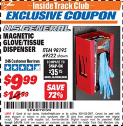 Harbor Freight ITC Coupon U.S. GENERAL MAGNETIC GLOVE/TISSUE DISPENSER Lot No. 69322/98195 Expired: 3/31/19 - $9.99