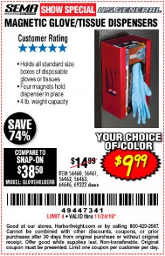 Harbor Freight Coupon U.S. GENERAL MAGNETIC GLOVE/TISSUE DISPENSER Lot No. 69322/98195 Expired: 11/24/19 - $9.99