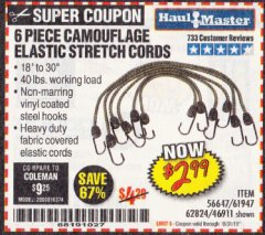 Harbor Freight Coupon 6 PIECE CAMOUFLAGE ELASTIC STRETCH CORDS Lot No. 56647/61947/62824/46911 Expired: 10/31/19 - $2.99
