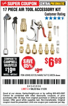 Harbor Freight Coupon 17 PC AIR TOOL ACCESSORY KIT Lot No. 63048 Expired: 1/1/20 - $6.99
