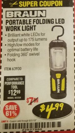 Harbor Freight Coupon BRAUN PORTABLE FOLDING LED WORK LIGHT Lot No. 63930 Expired: 8/31/18 - $4.99