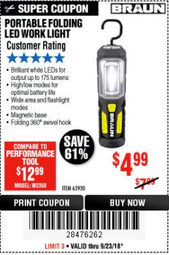 Harbor Freight Coupon BRAUN PORTABLE FOLDING LED WORK LIGHT Lot No. 63930 Expired: 9/23/18 - $4.99