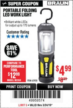 Harbor Freight Coupon BRAUN PORTABLE FOLDING LED WORK LIGHT Lot No. 63930 Expired: 3/24/19 - $4.99