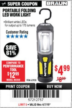 Harbor Freight Coupon BRAUN PORTABLE FOLDING LED WORK LIGHT Lot No. 63930 Expired: 4/7/19 - $4.99