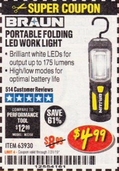 Harbor Freight Coupon BRAUN PORTABLE FOLDING LED WORK LIGHT Lot No. 63930 Expired: 7/31/19 - $4.99