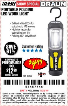 Harbor Freight Coupon BRAUN PORTABLE FOLDING LED WORK LIGHT Lot No. 63930 Expired: 11/24/19 - $4.99