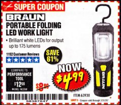 Harbor Freight Coupon BRAUN PORTABLE FOLDING LED WORK LIGHT Lot No. 63930 Expired: 3/31/20 - $4.99