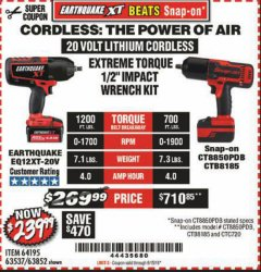 "Harbor Freight Coupon EXTREME TORQUE 1/2"" IMPACT WRENCH KIT Lot No. 63852 Expired: 6/15/19 - $239.99"