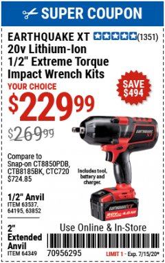 "Harbor Freight Coupon EXTREME TORQUE 1/2"" IMPACT WRENCH KIT Lot No. 63852 Expired: 7/15/20 - $229.99"