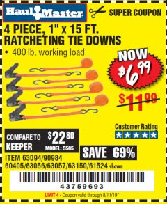 "Harbor Freight Coupon 4 PIECE, 1"" X 15FT. RATCHETING TIE DOWNS Lot No. 63150/63094/63056/63057/90984/61524 Expired: 4/21/19 - $6.99"
