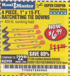 "Harbor Freight Coupon 4 PIECE, 1"" X 15FT. RATCHETING TIE DOWNS Lot No. 63150/63094/63056/63057/90984/61524 Expired: 12/31/19 - $6.99"