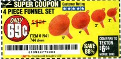 Harbor Freight Coupon 4 PIECE FUNNEL SET Lot No. 744/61941 EXPIRES: 6/30/20 - $0.69