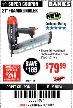 Harbor Freight Coupon 21° FRAMING NAILER Lot No. 64138 Expired: 11/11/18 - $79.99