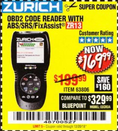 Harbor Freight Coupon ZURICH OBD2 SCANNER WITH ABS ZR13 Lot No. 63806 Expired: 12/20/18 - $169.99