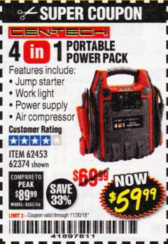 Harbor Freight Coupon 4 IN 1 PORTABLE POWER PACK Lot No. 62453/62374 Expired: 11/30/18 - $59.99