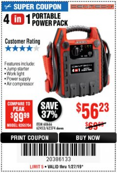 Harbor Freight Coupon 4 IN 1 PORTABLE POWER PACK Lot No. 62453/62374 Expired: 1/27/19 - $56.23