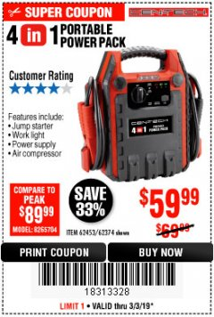 Harbor Freight Coupon 4 IN 1 PORTABLE POWER PACK Lot No. 62453/62374 Expired: 3/3/19 - $59.99