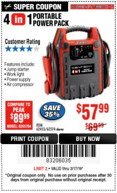 Harbor Freight Coupon 4 IN 1 PORTABLE POWER PACK Lot No. 62453/62374 Expired: 3/17/19 - $57.99