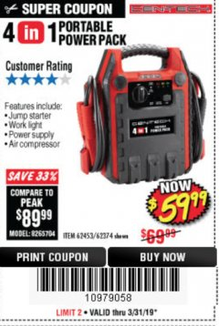 Harbor Freight Coupon 4 IN 1 PORTABLE POWER PACK Lot No. 62453/62374 Expired: 3/31/19 - $59.99