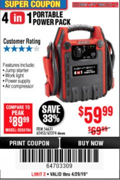 Harbor Freight Coupon 4 IN 1 PORTABLE POWER PACK Lot No. 62453/62374 Expired: 4/28/19 - $59.99