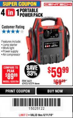 Harbor Freight Coupon 4 IN 1 PORTABLE POWER PACK Lot No. 62453/62374 Expired: 6/11/19 - $59.99