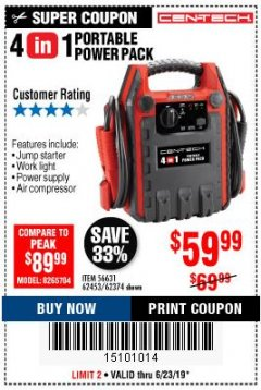 Harbor Freight Coupon 4 IN 1 PORTABLE POWER PACK Lot No. 62453/62374 Expired: 6/23/19 - $59.99