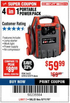 Harbor Freight Coupon 4 IN 1 PORTABLE POWER PACK Lot No. 62453/62374 Expired: 8/11/19 - $59.99