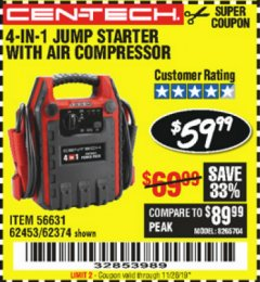Harbor Freight Coupon 4 IN 1 PORTABLE POWER PACK Lot No. 62453/62374 Expired: 11/25/19 - $59.99