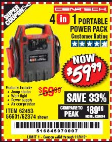 Harbor Freight Coupon 4 IN 1 PORTABLE POWER PACK Lot No. 62453/62374 Expired: 11/9/19 - $59.99