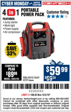 Harbor Freight Coupon 4 IN 1 PORTABLE POWER PACK Lot No. 62453/62374 Expired: 12/1/19 - $59.99