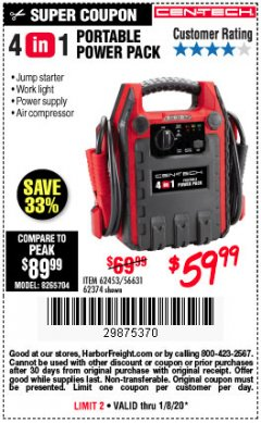 Harbor Freight Coupon 4 IN 1 PORTABLE POWER PACK Lot No. 62453/62374 Expired: 1/8/20 - $59.99