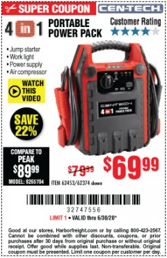 Harbor Freight Coupon 4 IN 1 PORTABLE POWER PACK Lot No. 62453/62374 Expired: 6/30/20 - $69.99