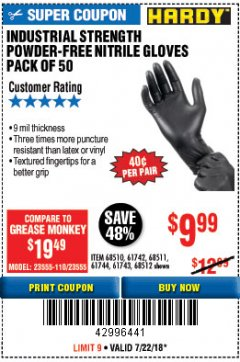 Harbor Freight Coupon POWDER-FREE NITRILE GLOVES PACK OF 50 Lot No. 68510/61742/68511/61744/68512/61743 Expired: 7/22/18 - $9.99