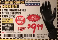 Harbor Freight Coupon POWDER-FREE NITRILE GLOVES PACK OF 50 Lot No. 68510/61742/68511/61744/68512/61743 Expired: 2/28/19 - $9.99