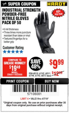 Harbor Freight Coupon POWDER-FREE NITRILE GLOVES PACK OF 50 Lot No. 68510/61742/68511/61744/68512/61743 Expired: 4/7/19 - $9.99