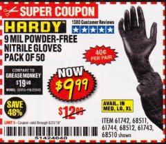 Harbor Freight Coupon POWDER-FREE NITRILE GLOVES PACK OF 50 Lot No. 68510/61742/68511/61744/68512/61743 Expired: 8/31/19 - $9.99
