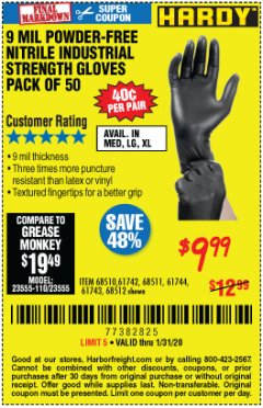 Harbor Freight Coupon POWDER-FREE NITRILE GLOVES PACK OF 50 Lot No. 68510/61742/68511/61744/68512/61743 Expired: 1/31/20 - $9.99