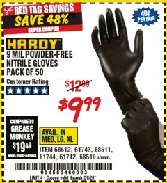 Harbor Freight Coupon POWDER-FREE NITRILE GLOVES PACK OF 50 Lot No. 68510/61742/68511/61744/68512/61743 Expired: 2/8/20 - $9.99